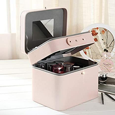 Extra Large Space PU Storage Beauty Box Make up Nail Jewelry Cosmetic Vanity Case Mirror, Gift Girls Women Wuyue Hua P029-B