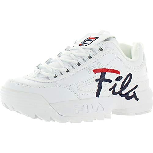 Fila Women's Disruptor Ii Script White/Navy Red Ankle-High Leather Sneaker - 7M