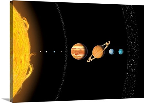 Gary Hincks Premium Thick-Wrap Canvas Wall Art Print entitled Solar system planets, artwork 48''x32'' by Canvas on Demand
