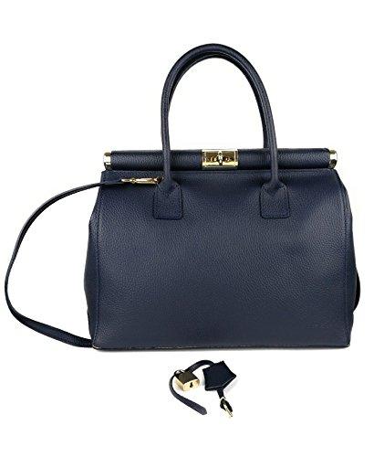 Zerimar Womens Leather Handbag Shoulder Bag Large Capacity Soft Blue Skin