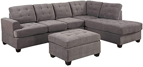 home, kitchen, furniture, living room furniture,  living room sets 7 discount Divano Roma Furniture 3-Piece Reversible Chaise Sectional deals