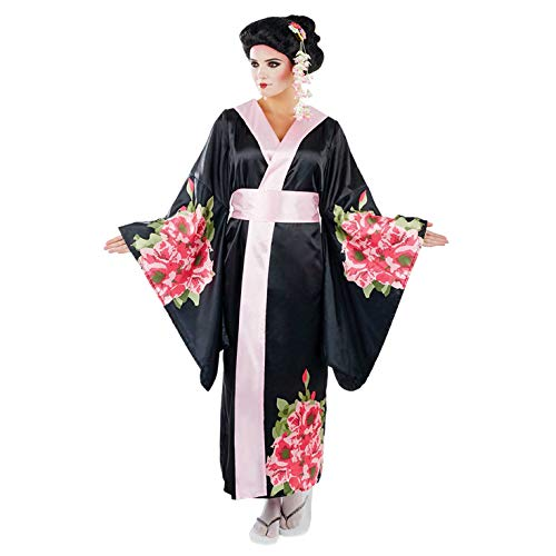 Womens Geisha Costume Adults Floral Black Kimono Robe Dress Outfit - Small]()