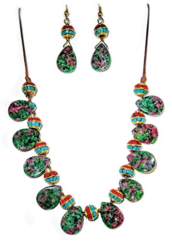 Handcrafted Natural Corundum Necklace and Earring Set - Gift Boxed