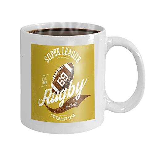 (11 oz Coffee Mug rugby ball logo branding design super league banner sportswear gear clothing uniform cloth Novelty Ceramic Gifts Tea Cup)