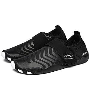 L-RUN Men's Aqua Water Shoes Casual Breathable Mesh Quick Drying Black XXXL(M:12-13)=EU 45-46