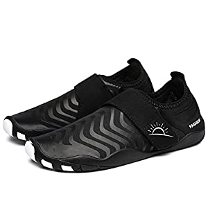 L-RUN Men's Water Shoes Breathable Quick Drying Beach Shoes Black L(W:8.5-9,M:7-7.5)=EU 39-40