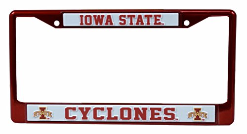 Rico Industries NCAA Iowa State Cyclones Team Colored Chrome License Plate Frame, Red
