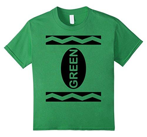 [Kids Green Crayon Costume T-Shirt Halloween Tee 10 Grass] (Adult Green Crayon Costumes)