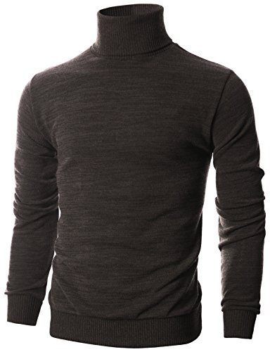 - Ohoo Mens Slim Fit Long Sleeve Turtleneck Mixed Ribbed Hem Pullover Sweater/DCP024-BROWN-M