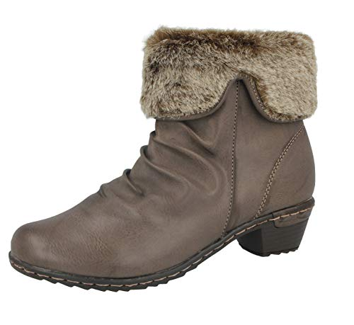 Ladies 225 Antonio Dolfi Faux Leather Knit Faux Fur Trim Mid Block Heel Ankle Chelsea Boots Size 3-9 Grey