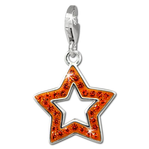 SilberDream Glitter Charm open star with orange Czech crystals 925 Sterling Silver Charms Pendant for Charms Bracelet, Necklace or Earring GSC556O