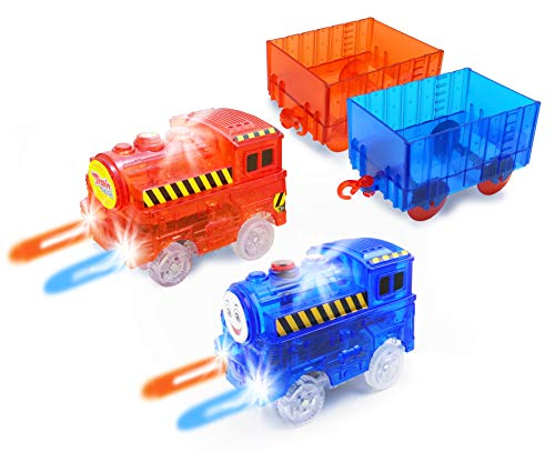 (HAPISIMI Track Train (2-Pack), Multi-Color Light Up Flashing LED Glow in The Dark Trains Accessories Compatible with Most Tracks Including Neo & Magic Track, Boys and Girls (Red & Blue))