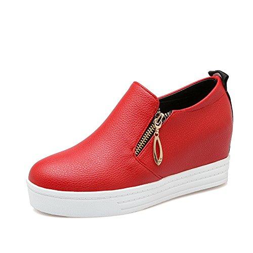 toe shoes 35 BalaMasa Rosso Red donna kitten interno da Pull round On pumps heels gomma Heighten 7p07wq