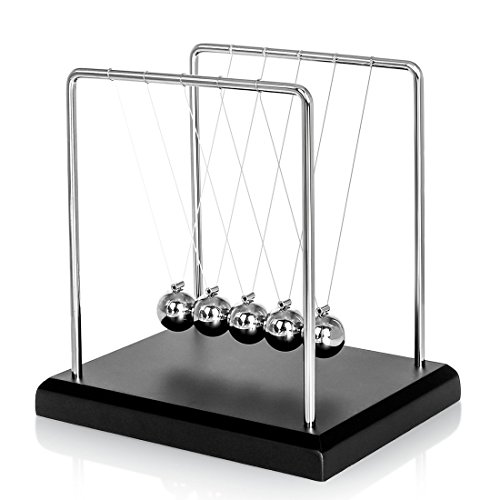 Zinnor Newton's Cradle,Newton's Cradle Balance Balls with Metal Balance Ball and Black Wooden Base Accompany Your Child's Grown-Up | Decoration for Living Room Drawing Room and Office by Zinnor