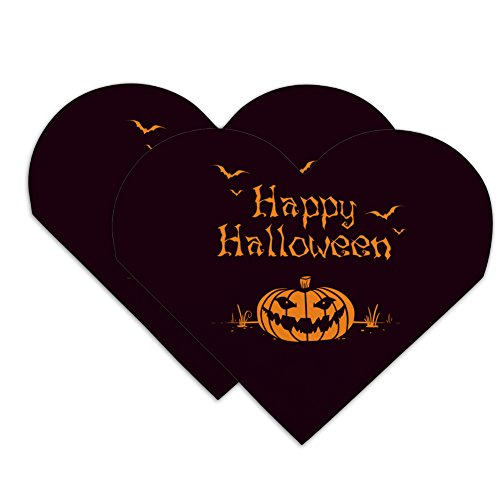 Happy Halloween Holiday Pumpkin Jack-o-lantern Bats Heart Faux Leather Bookmark - Set of 2
