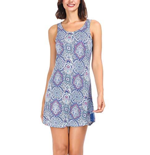 Women Pajama Sleeve Less Night Shirt Sleep Shirt Skirt Purple Bandhani Henna Paisley Medium ()