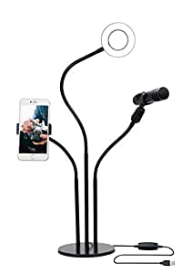 Mobile Live Stream Equipment, Ring Light Stand with Cell Phone Holder and Mic Clip, Smartphone Lighting Accessories for Live Streaming Videos on Facebook, YouTube, Periscope, Twitch