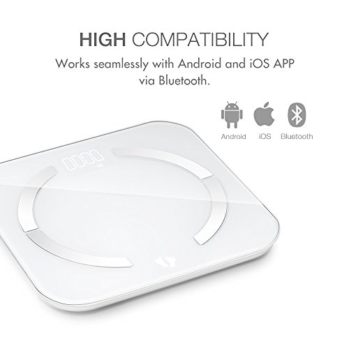 Bluetooth Body Fat Scale, multifun Body Composition Monitor with Smartphone App,Auto Recognition Technology Smart Scale,Tempered Glass Platform for Healthy Weight Loss Tracking Body Scale