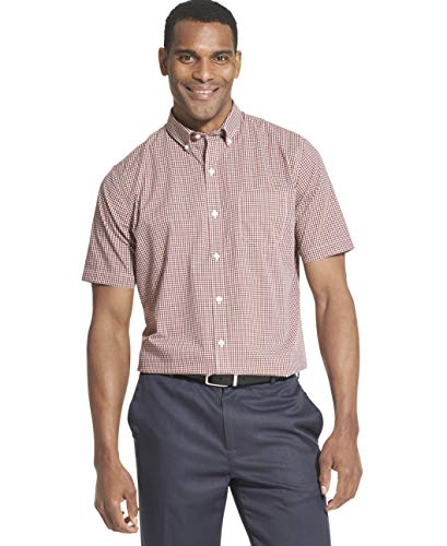 (Van Heusen Men's Flex Short Sleeve Button Down Check Shirt, Red Rusted Root, Small)
