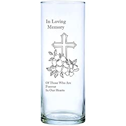 "IE Laserware Cross and Flowers Beautifully Laser Etched on This 9"" Memorial Candle. Comes Complete with 3"" Floating Candle, just add Water and Light The Wick!"