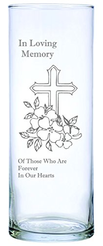 IE Laserware Cross and Flowers Beautifully Laser Etched on This 9'' Memorial Candle. Comes Complete with 3'' Floating Candle, just add Water and Light The Wick! by IE Laserware