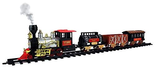 Percy Battery Powered Engine (Classical Express Big Size 20 Piece Battery Operated Toy Train Set Real Smoke Lights Sounds w/ 4 Train Cars, 12 Curved, 4 Straight Tracks)