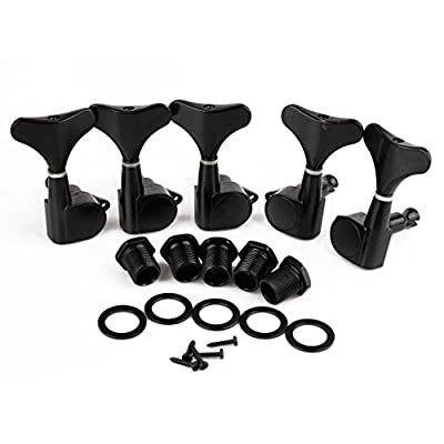 2L3R Sealed Bass Guitar Tuning Pegs Keys Machine Head Tuners for PB JB Bass Pack of 5 Black from DealMusical