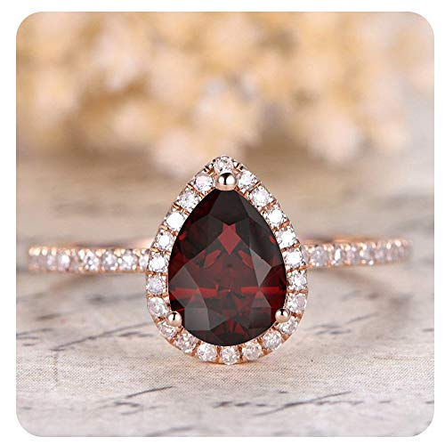 1.50 Ctw Pear Shaped Created Red Garnet & White Diamond 14k Rose Gold Over .925 Sterling Silver Engagement Ring for Women's