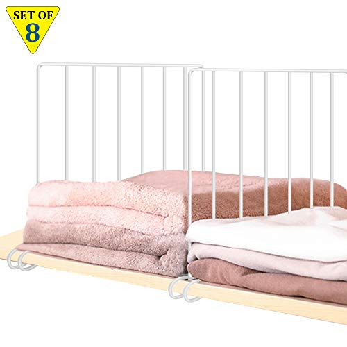 8 Pack Shelf Divider for Storage and Organization, Closet Shelves Separator With Stabilizer Sturdy Metal Wire Closet Shelf Easy Install Wardrobe Divider Shelf Organizer for Bedroom, Kitchen (Sweater Dividers Closet)
