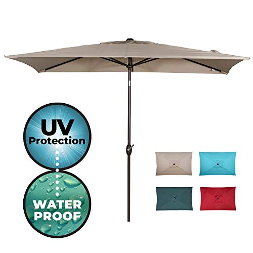Market Umbrella 9 Base (Abba Patio Rectangular Patio Umbrella Outdoor Market Table Umbrella with Push Button Tilt and Crank, 6.6 by 9.8 Ft, Beige)