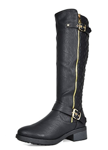 DREAM PAIRS Women's Utah Black Low Stacked Heel Knee High Riding Boots Size 7.5 M US