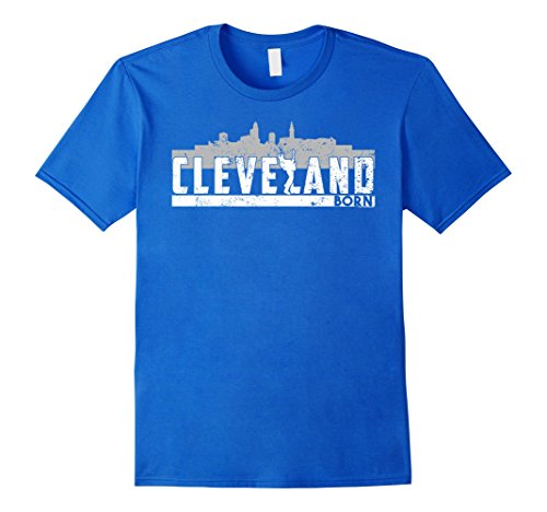 Men's Cleveland T Shirt Skyline Ohio T Shirt XL Royal Blue