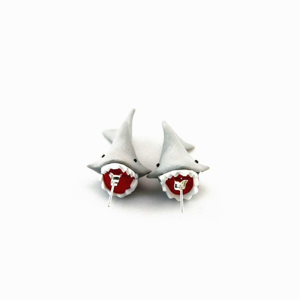 EH-LIFE Women Ladies Clay Shark Stud Women Fashion Animal Piercing Earrings