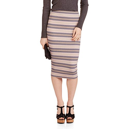 Say What Juniors Striped Ribbed Bodycon Midi Skirt (Large, Tan/Blue)