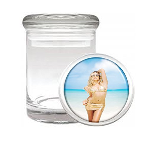 """Medical Glass Stash Jar California USA Pin Up Girls S4 Air Tight Lid 3"""" x 2"""" Small Storage Herbs & Spices"""