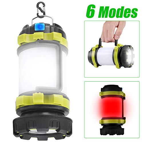 KeShi Camping Lantern Rechargeable Flashlight, LED Lamp 6 Modes, 4000mAh Power Bank, Two Way Hook of Hanging, IPX4 Waterproof, Perfect for Camping, Hiking, Outdoor Fishing, Emergency Condition