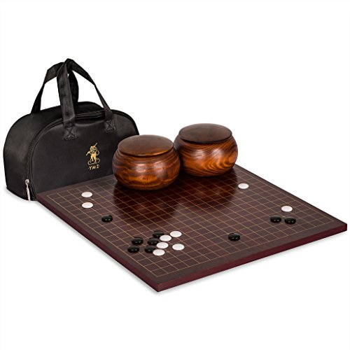 Go Game Set with 0.6 Inch Dark Cherry Veneer Go Board, Single Convex Melamine Stones and Jujube Bowl by Yellow Mountain Imports