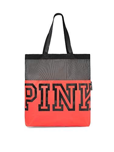 Victoria's Secret Pink Nation Black Mesh Neon Red Logo Tote