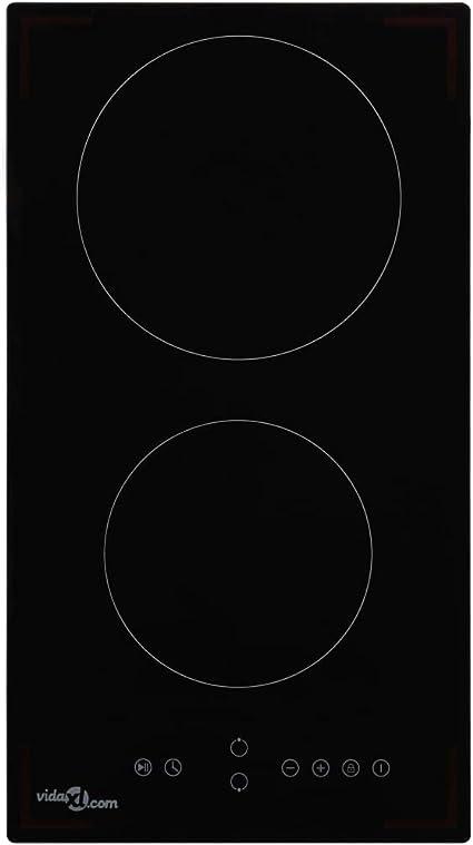 vidaXl Placa Vitrocerámica 2 Quemadores Control Táctil Electrodomésticos Accesorios Cocina Comedor Vidrio Resistente al Calor Segura Moderna 3000W