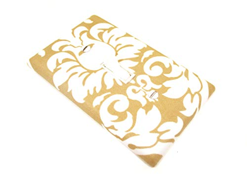 Tan and White Damask Light Switch Cover Plate