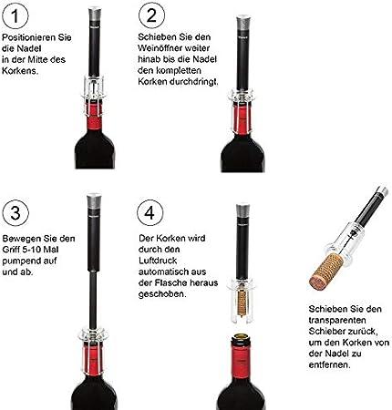 Keenwo Sacacorchos de diseño – abridor de vino de acero inoxidable con presión de aire de CO2 para principiantes y profesionales, color negro