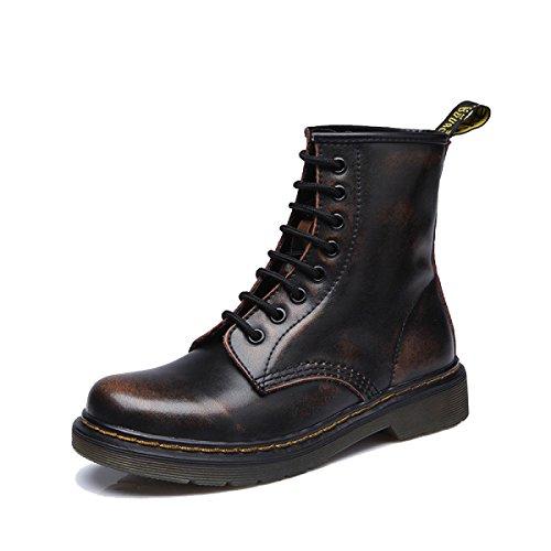 Retro Modische Stiefeletten Flache Freizeit 35 Frauen Neue Schuhe Leder 43 Größe Große WJNKK Damen x8wfUT6TB