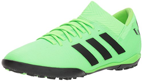 adidas Unisex Nemeziz Messi Tango 18.3 Turf Soccer Shoe, Black/Solar Green, 5.5 M US Big Kid