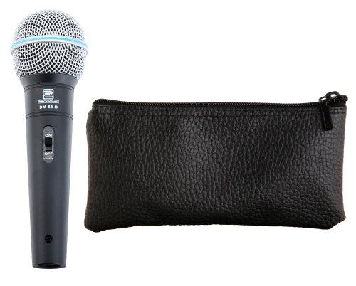 Pronomic DM-58-B Dynamisches Gesangs Mikrofon mit Schalter (Für Sprache, Gesang und Instrumente, Richtcharakteristik: Superniere, Frequenzgang: 70 - 16.000 Hz)