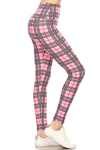 Leggings Depot LY5X-S573 Checkered Pink -