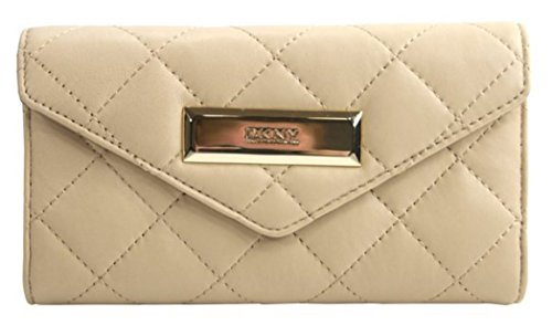 DKNY Saffiano Sand Quilted Lambskin Trifold Envelope Wallet