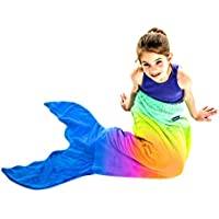 Mermaid Tail Blanket - Gorgeous Rainbow Ombre Design -...