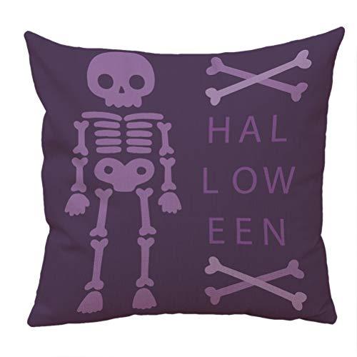 Nunubee Happy Halloween Decorative Throw Pillow Cover Linen Cushion Cover 18x18 Inch - Purple a