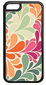 Pastel Colors Flower Damask- Case for the APPLE IPHONE 5C ONLY-Hard Black Plastic Outer Case
