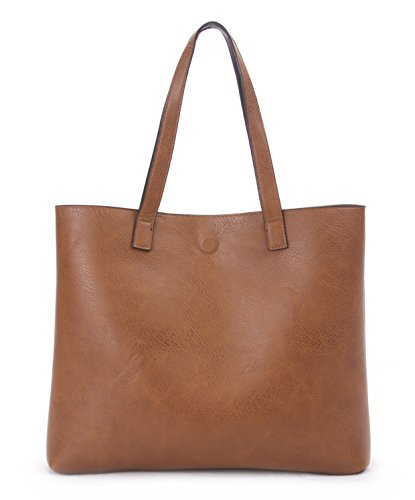 Review Overbrooke Reversible Tote Bag, Black & Tan – Vegan Leather Womens Shoulder Tote with Wristlet